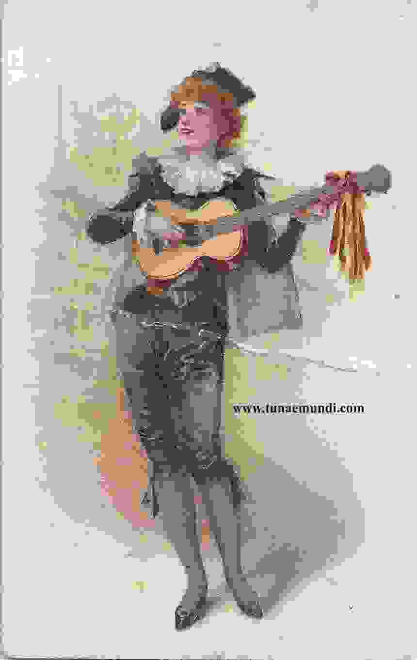 Mujer estudiantina con guitarra. W. Duke Sons  Co. New Yourk USA  circa 1900 front