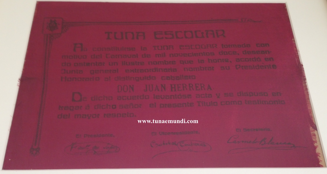 Diploma - Presidente Honorario. 1912 copia