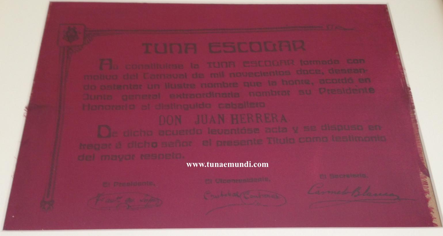 Tuna Escolar - Presidente Honorario de 1912