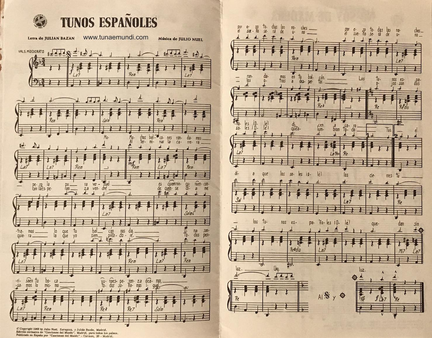 Tunos espanoles guion director - partitura 1968
