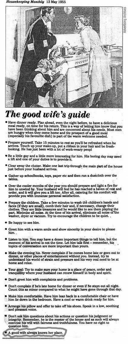 Housekeeping Monthly. The Good Wifes Guide. 1955